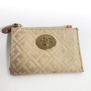 Tommy Hilfiger Card Coin Purse Tan and Gold